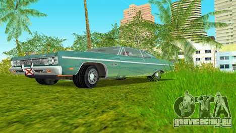 Plymouth Fury III 1969 Coupe для GTA Vice City вид сзади слева