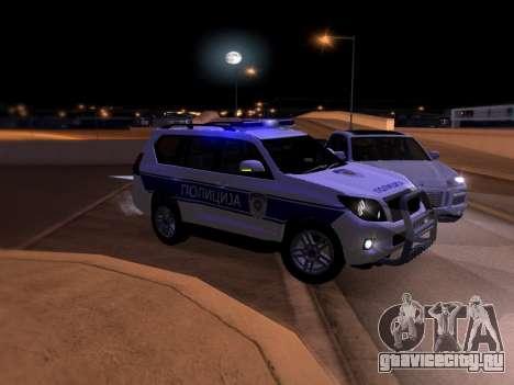 Toyota Land Cruiser POLICE для GTA San Andreas вид снизу