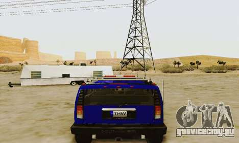 THW Hummer H2 для GTA San Andreas вид справа