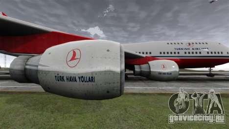 Самолёт Турецких авиалиний для GTA 4 вид сзади