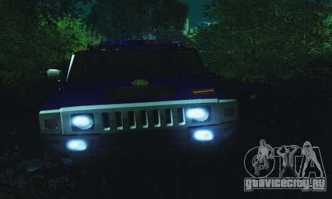 Hummer H2 G.E.O.S. для GTA San Andreas вид сзади