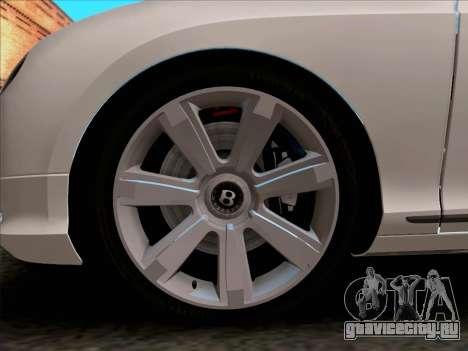 Bentley Continental GT Final 2011 для GTA San Andreas вид изнутри