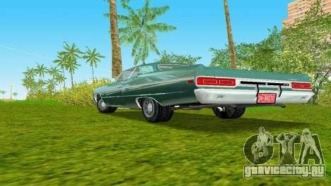 Plymouth Fury III 1969 Coupe для GTA Vice City вид изнутри