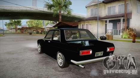 Datsun 510 RB26DETT Black Revel для GTA San Andreas вид сзади слева