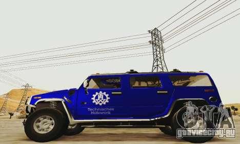 THW Hummer H2 для GTA San Andreas вид слева