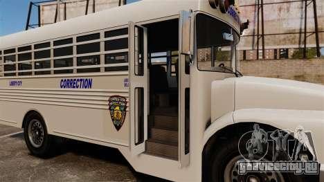 Тюремный автобус Liberty City для GTA 4 вид сзади