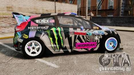 Ford Fiesta Gymkhana 6 Ken Block [Hoonigan] 2013 для GTA 4 вид слева