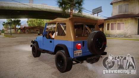 Jeep Wrangler V10 TT Black Revel для GTA San Andreas вид сзади слева