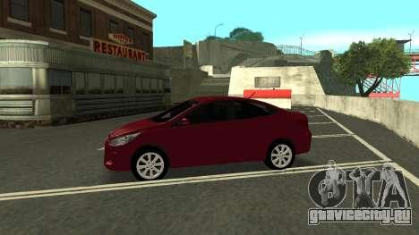 Hyundai Solaris для GTA San Andreas вид изнутри