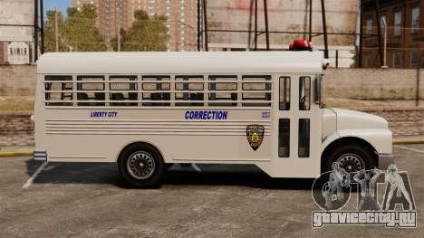 Тюремный автобус Liberty City для GTA 4 вид слева