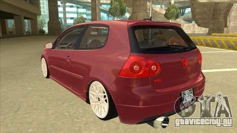 Volkswagen Golf V для GTA San Andreas вид сзади