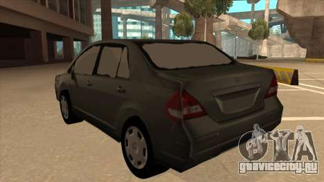 Nissan Tiida sedan для GTA San Andreas вид сзади