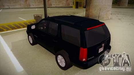 Cadillac Escalade 2011 Unmarked FBI для GTA San Andreas вид сзади