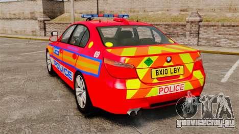 BMW M5 E60 Metropolitan Police 2010 ARV [ELS] для GTA 4 вид сзади слева