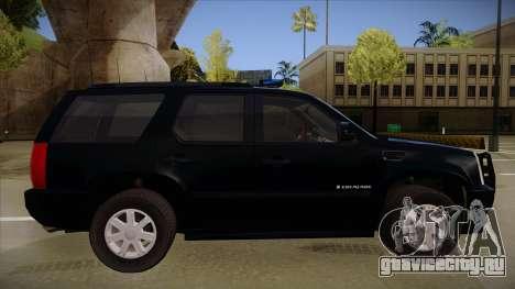 Cadillac Escalade 2011 FBI для GTA San Andreas вид сзади слева