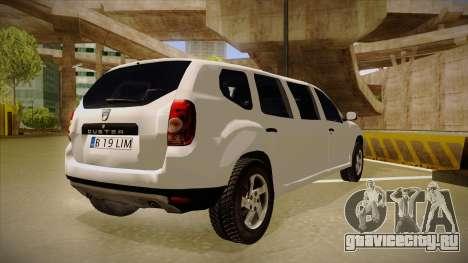 Dacia Duster Limuzina для GTA San Andreas вид справа