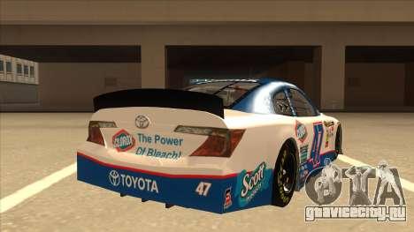 Toyota Camry NASCAR No. 47 Clorox для GTA San Andreas вид справа