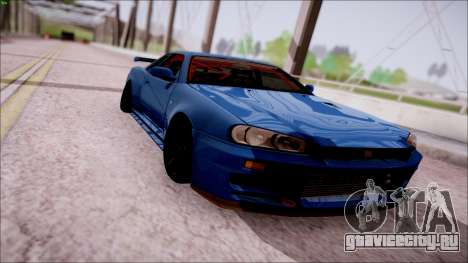 Nissan Skyline GT-R R34 для GTA San Andreas вид сзади