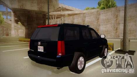 Cadillac Escalade 2011 FBI для GTA San Andreas вид справа
