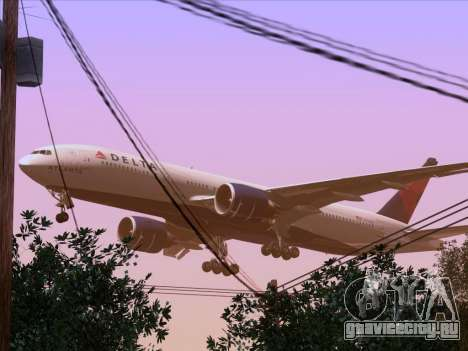Boeing 777-200ER Delta Air Lines для GTA San Andreas вид снизу