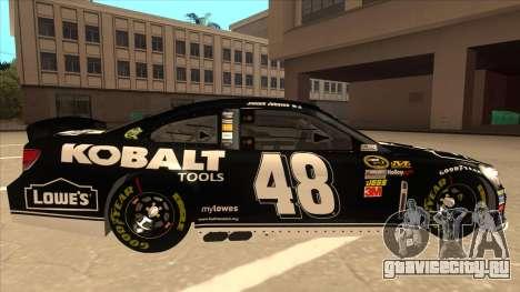 Chevrolet SS NASCAR No. 48 Kobalt Tools для GTA San Andreas вид сзади слева