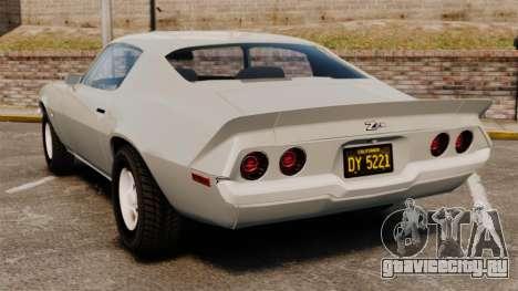 Chevrolet Camaro Z28 1970 для GTA 4 вид сзади слева