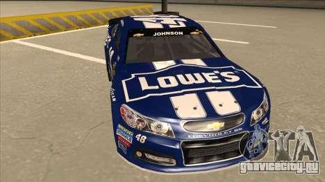 Chevrolet SS NASCAR No. 48 Lowes blue для GTA San Andreas вид слева