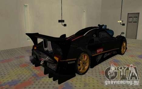 Pagani Zonda R SPS для GTA San Andreas вид сзади слева