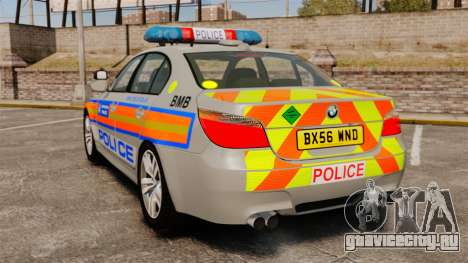 BMW M5 E60 Metropolitan Police 2006 ARV [ELS] для GTA 4 вид сзади слева