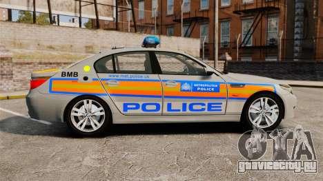 BMW M5 E60 Metropolitan Police 2006 ARV [ELS] для GTA 4 вид слева
