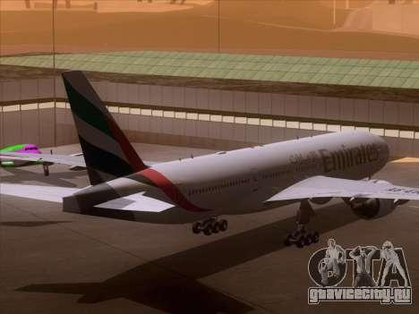 Boeing 777-21HLR Emirates для GTA San Andreas вид сзади