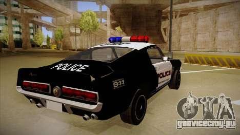 Shelby Mustang GT500 Eleanor Police для GTA San Andreas вид справа