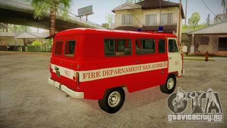UAZ 452 Пожарный штабной SA для GTA San Andreas вид справа