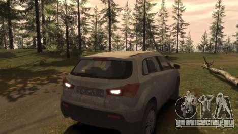 Mitsubishi ASX 2010 для GTA 4 вид снизу