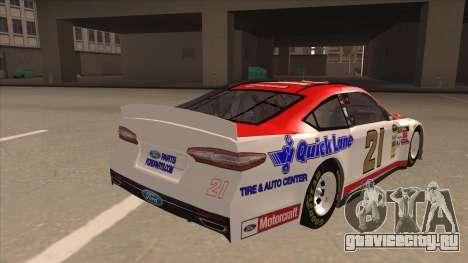 Ford Fusion NASCAR No. 21 Motorcraft Quick Lane для GTA San Andreas вид справа