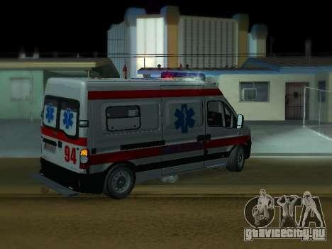 Renault Master Сербский скорой помощи для GTA San Andreas вид справа