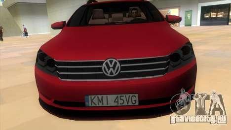 Volkswagen Passat B7 2012 для GTA Vice City вид сзади слева