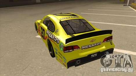 Chevrolet SS NASCAR No. 27 Menards для GTA San Andreas вид сзади