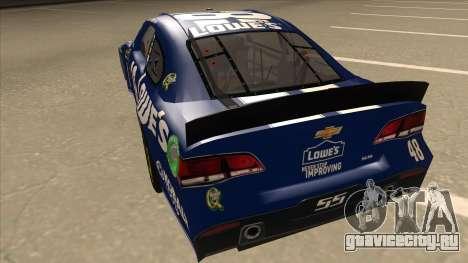 Chevrolet SS NASCAR No. 48 Lowes blue для GTA San Andreas вид сзади