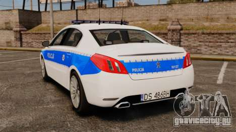 Peugeot 508 Polish Police [ELS] для GTA 4 вид сзади слева