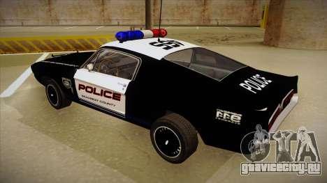 Shelby Mustang GT500 Eleanor Police для GTA San Andreas вид сзади