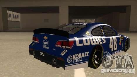 Chevrolet SS NASCAR No. 48 Lowes blue для GTA San Andreas вид справа