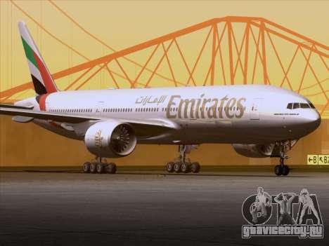Boeing 777-21HLR Emirates для GTA San Andreas вид изнутри