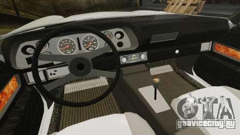 Chevrolet Camaro Z28 1970 для GTA 4 вид изнутри