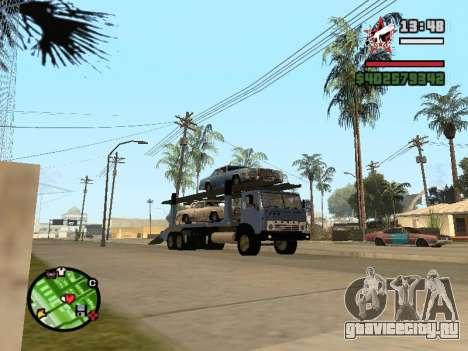 КАМАЗ 43085 Автовоз для GTA San Andreas вид сзади слева