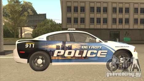 Dodge Charger Detroit Police 2013 для GTA San Andreas вид сзади слева