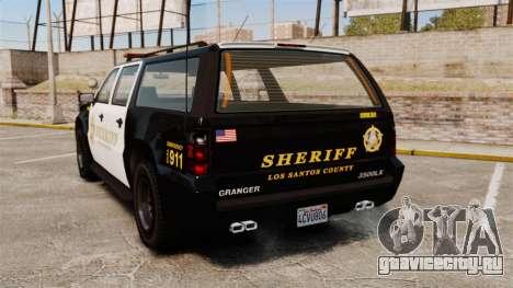 GTA V Declasse Granger Sheriff для GTA 4 вид сзади слева