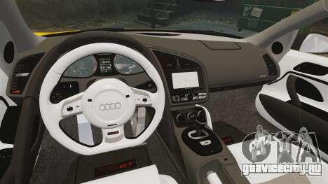 Audi R8 GT Spyder для GTA 4 вид изнутри