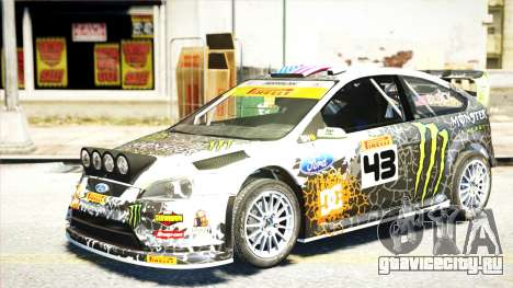 Ford Focus RS Monster World Rally Team WRC для GTA 4 вид сзади слева