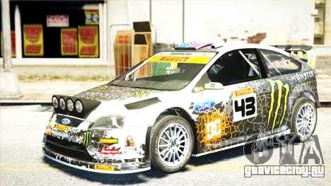 Ford Focus RS Monster World Rally Team WRC для GTA 4 вид сзади слева